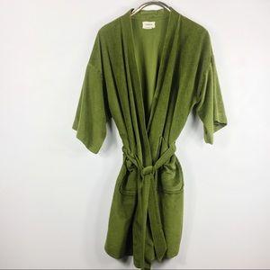 Vintage Velvety Robe Mod 70s Green Roytex